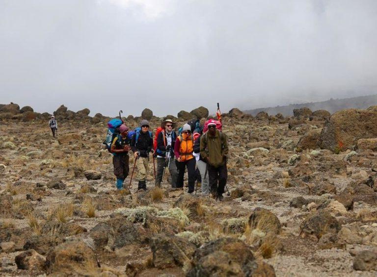 Wanderung durch die triste Landschaft des Kilimanjaros